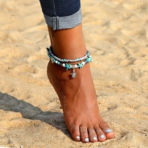 Turtle Starfish Beach Pool 2 Piece Layered Anklet
